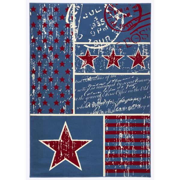 Hanse Home Collection koberce Kusový koberec CITY MIX 102398 140x200 cmcm, koberců 140x200 cm Bílá, Červená, Modrá - Vrácení do 1 roku ZDARMA