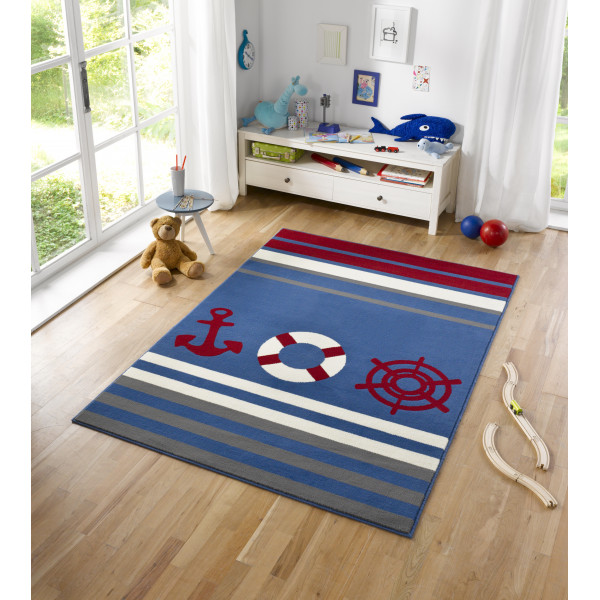 Hanse Home Collection koberce Kusový koberec CITY MIX 102396 140x200 cmcm, koberců 140x200 cm Bílá, Červená, Modrá, Šedá - Vrácení do 1 roku ZDARMA
