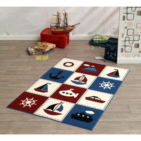 Hanse Home Collection koberce Kusový koberec CITY MIX 102330 140x200 cmcm, koberců 140x200 cm Bílá, Červená, Modrá, Černá - Vrácení do 1 roku ZDARMA