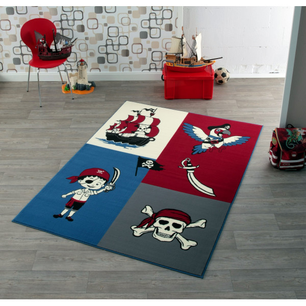Hanse Home Collection koberce Kusový koberec CITY MIX 102171 140x200 cmcm, koberců 140x200 cm Bílá, Červená, Modrá, Šedá, Černá - Vrácení do 1 roku ZDARMA