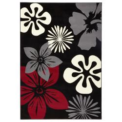 Kusový koberec GLORIA Flora Schwarz Rot