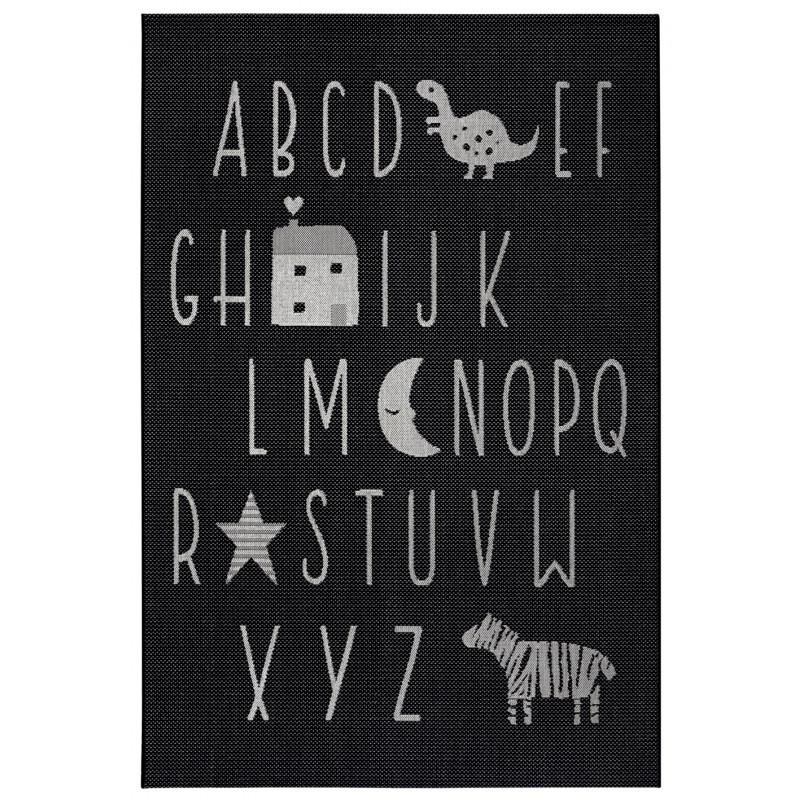 Dětský kusový koberec Flatweave 104885 Black/Cream