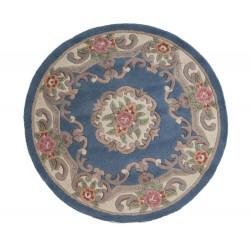 Ručně všívaný kusový koberec Lotus premium Blue kruh