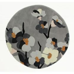 Ručně všívaný kusový koberec Infinite Blossom Grey/Ochre kruh