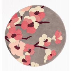 Ručně všívaný kusový koberec Infinite Blossom Charcoal/Pink kruh