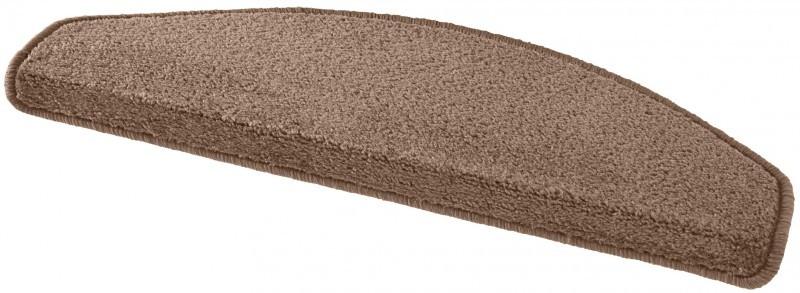 Hanse Home Collection koberce Sada 15ks nášlapů na schody: Fancy 103008 hnědé - 23x65 půlkruh (rozměr včetně ohybu)