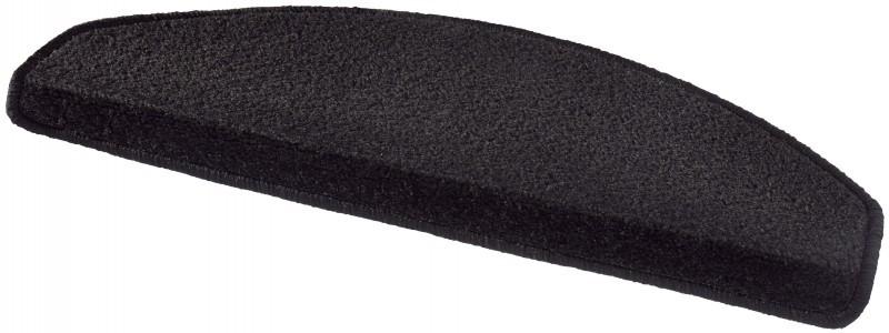 Hanse Home Collection koberce Sada 15ks nášlapů na schody: Fancy 103004 černé - 23x65 půlkruh (rozměr včetně ohybu)