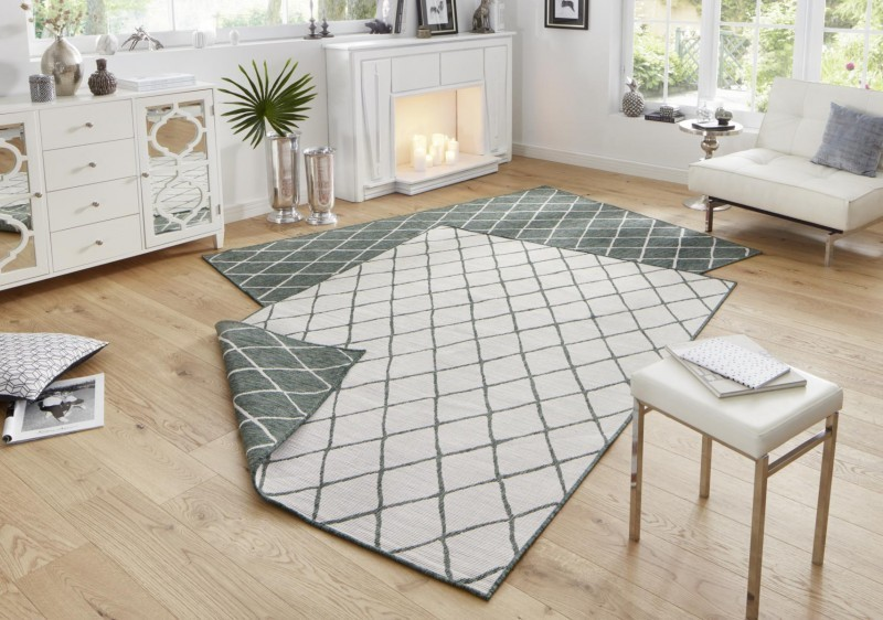 Bougari - Hanse Home koberce Kusový koberec Twin-Wendeteppiche 103117 grün creme - 120x170 cm
