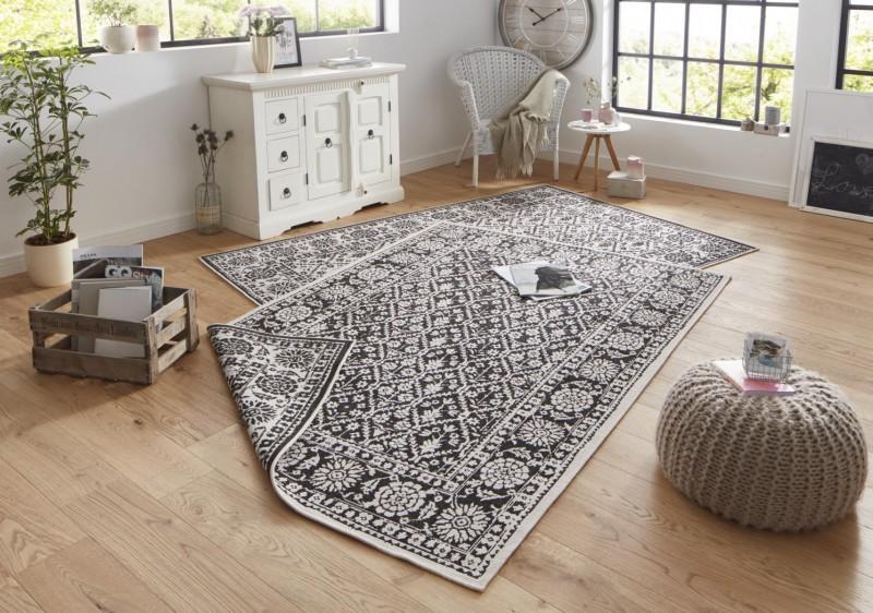 Bougari - Hanse Home koberce Kusový koberec Twin-Wendeteppiche 103113 schwarz creme - 120x170 cm