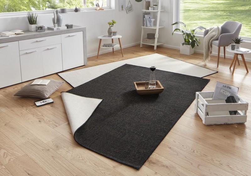 Bougari - Hanse Home koberce Kusový koberec Twin-Wendeteppiche 103096 schwarz creme - 120x170 cm