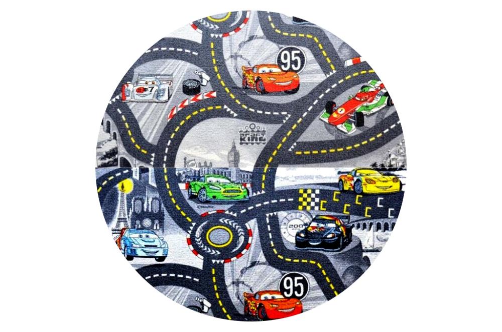 Vopi koberce Kusový koberec The World of Cars 97 šedý kulatý - 200x200 kruh