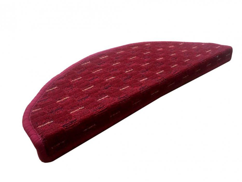 Vopi koberce Nášlapy na schody Valencia červená půlkruh - 24x65 půlkruh (rozměr včetně ohybu)