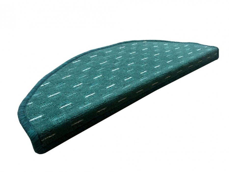 Vopi koberce Nášlapy na schody Valencia zelená půlkruh - 24x65 půlkruh (rozměr včetně ohybu)