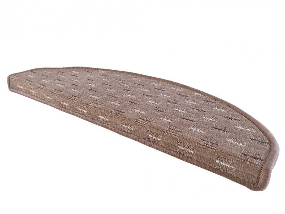 Vopi koberce Nášlapy na schody Valencia béžová půlkruh - 24x65 půlkruh (rozměr včetně ohybu)