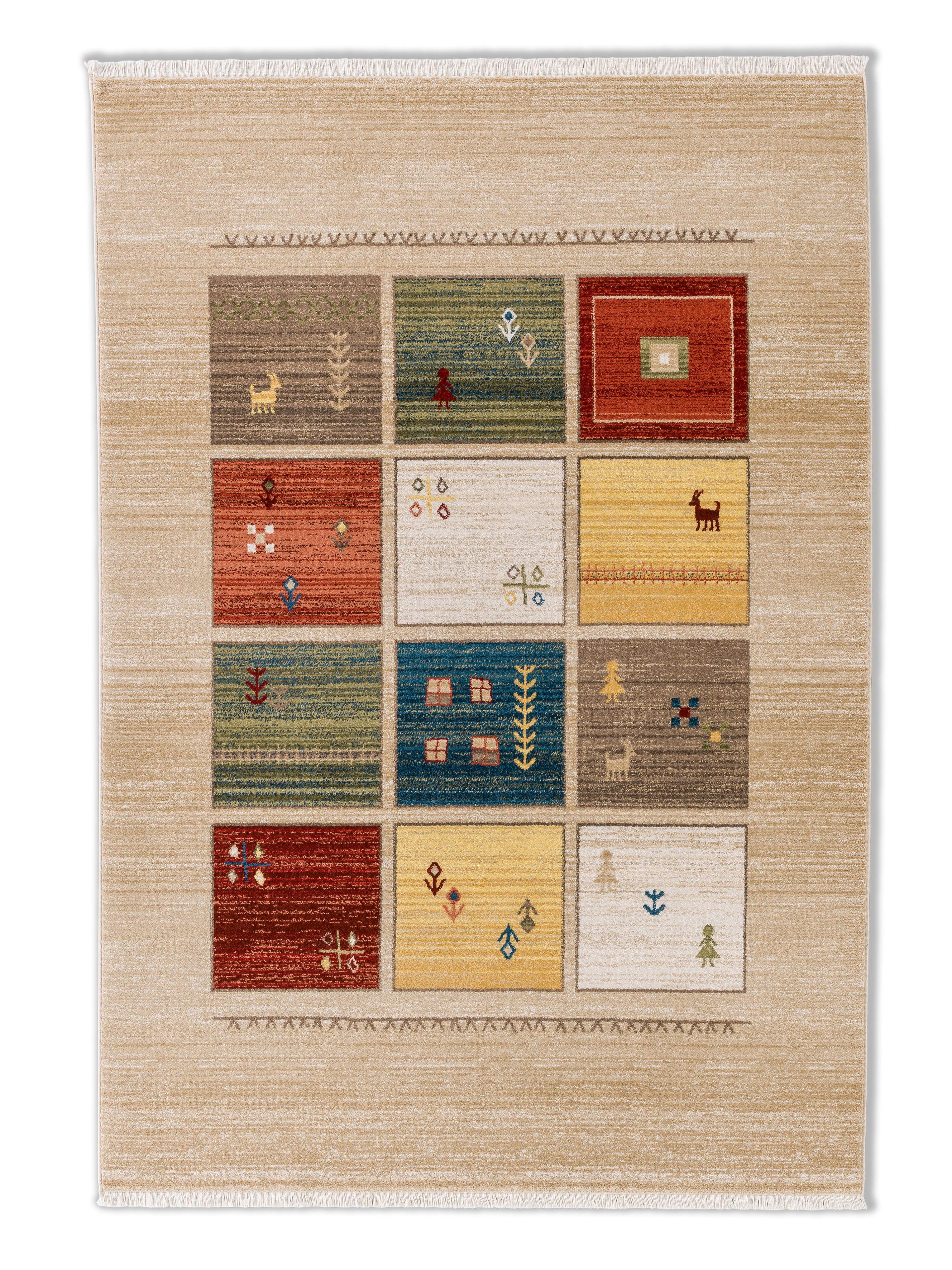 Astra - Golze koberce Kusový koberec Trani 191000 Gabbeh Box Cream - 120x170 cm