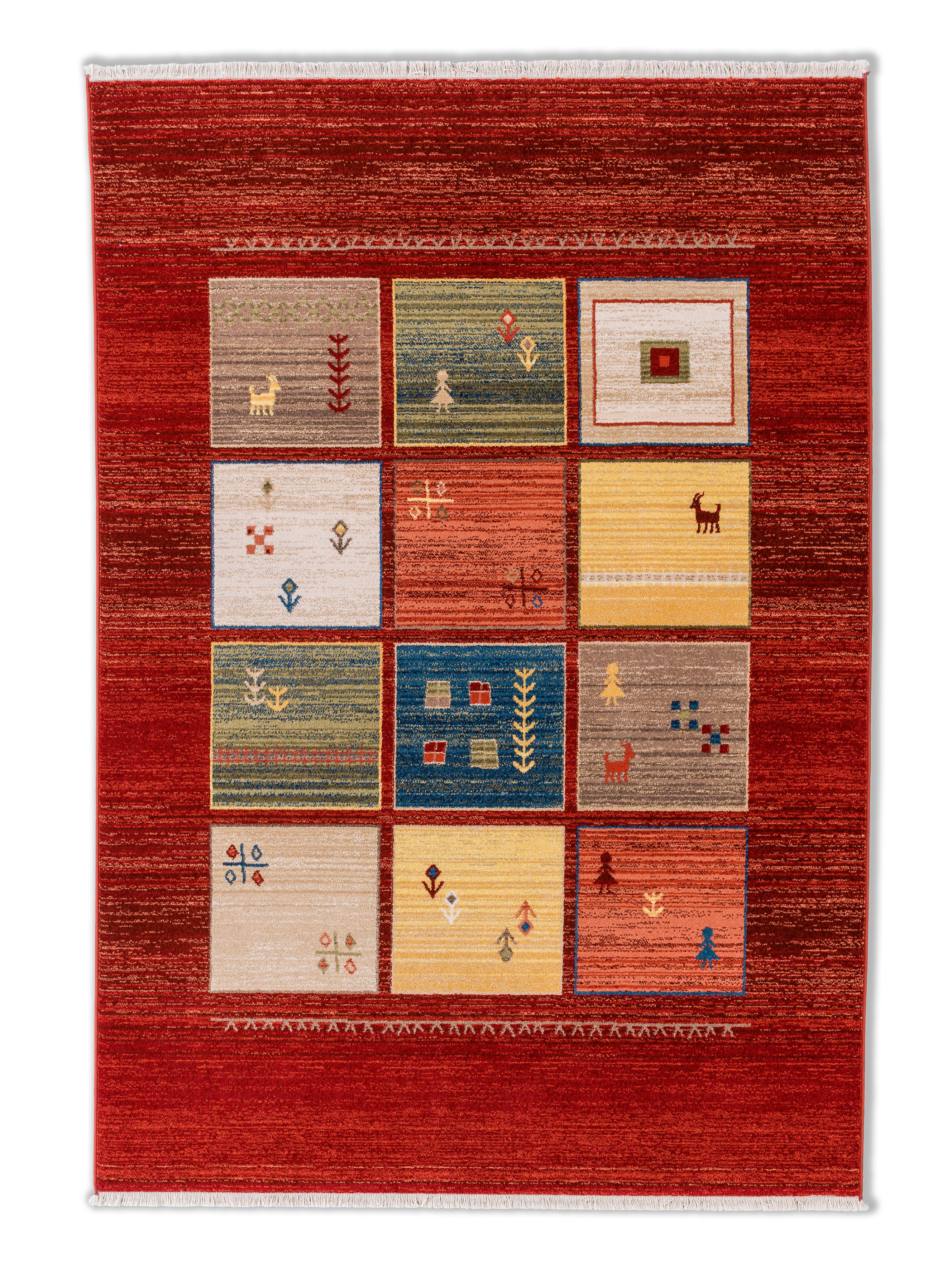 Astra - Golze koberce Kusový koberec Trani 192010 Gabbeh Box Red - 120x170 cm