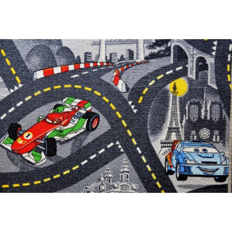 Vopi koberce Metrážový koberec The World of Cars 97 šedý - Rozměr na míru s obšitím cm