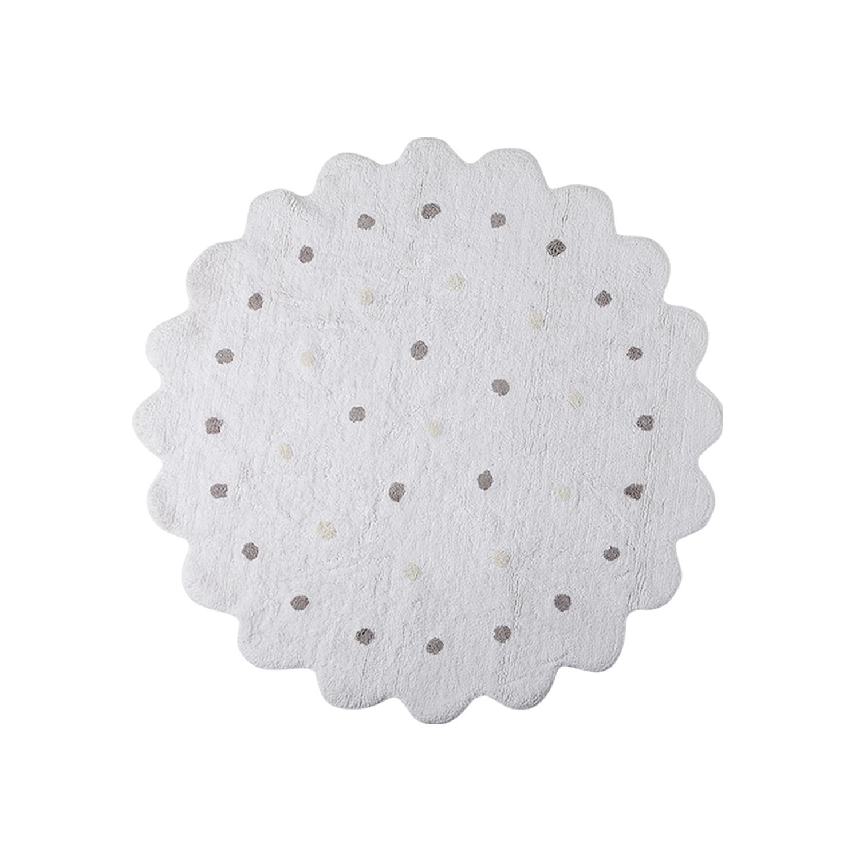 Lorena Canals koberce Pro zvířata: Pratelný koberec Little Biscuit White - 140x140 kytka cm