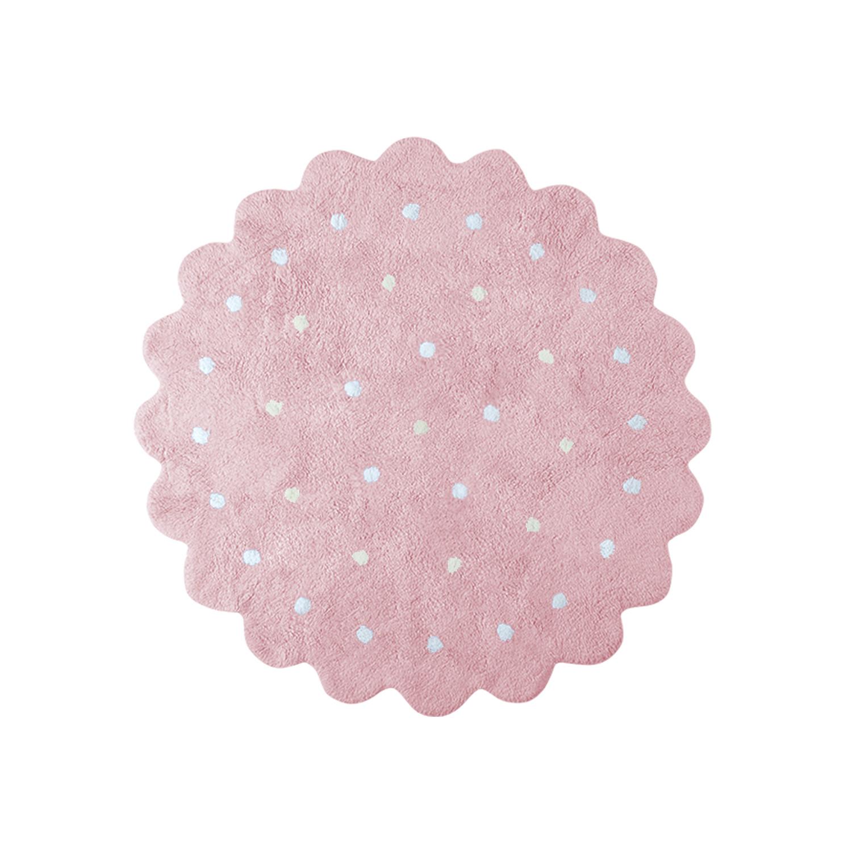 Lorena Canals koberce Pro zvířata: Pratelný koberec Little Biscuit Pink - 140x140 kytka cm